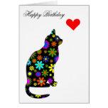 Corazón felino del gato floral femenino retro tarjeta de felicitación