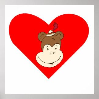 Corazón feliz de la cara del mono poster