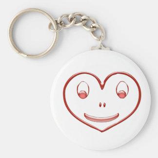 Corazón feliz de la cara llavero redondo tipo pin