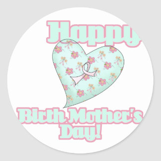 Corazón feliz de la cinta del día de madres de pegatina redonda