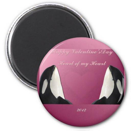 Corazón feliz de la orca de la orca del día de San Imán Para Frigorifico