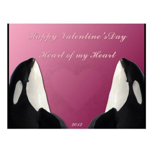Corazón feliz de la orca de la orca del día de San Postal