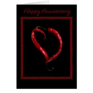 Corazón feliz de la pimienta de chile del tarjeta de felicitación