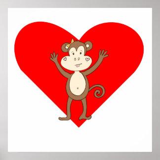 Corazón feliz del chica del mono impresiones