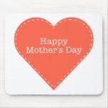 Corazón feliz del naranja del día de madres tapete de ratones