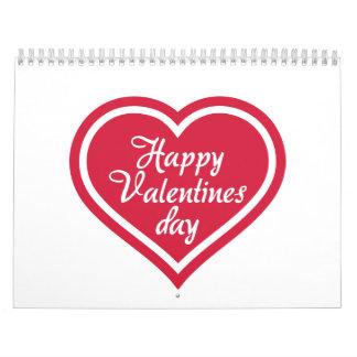 Corazón feliz del rojo del el día de San Valentín Calendarios De Pared