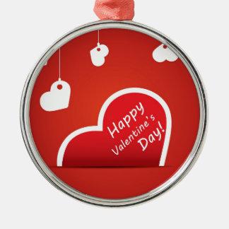 Corazón feliz del rojo del el día de San Valentín Ornamentos De Navidad