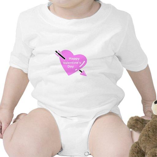 Corazón feliz del rosa del día de San Valentín Trajes De Bebé