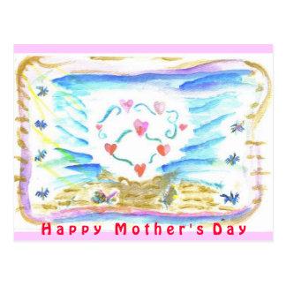 Corazón feliz del triple del día de madre postal