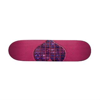 Corazón femenino de moda rosado con el material pú tablas de patinar
