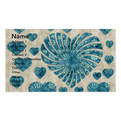 Corazón floral azul con los lunares rosados plantillas de tarjetas personales