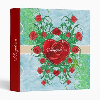 Corazón floral con los rosas rojos - carpeta