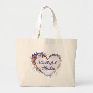 Corazón floral de la madre maravillosa bolsa de tela grande