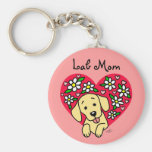 Corazón floral de la mamá amarilla de Labrador Llaveros Personalizados