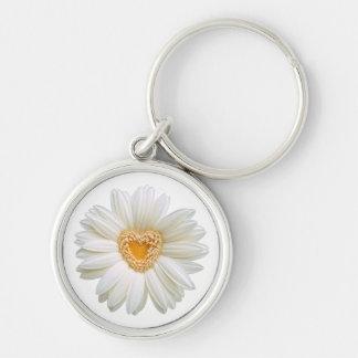 Corazón floral del amarillo de la flor de la llavero redondo plateado