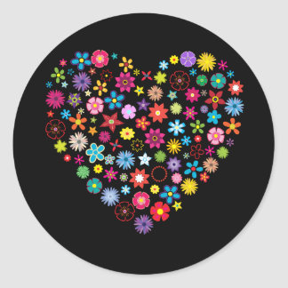 Corazón floral del amor pegatina redonda
