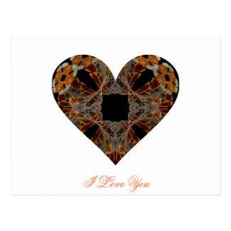 Corazón floral del arte del fractal del Lacework Tarjetas Postales