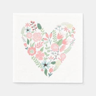 Corazón floral delicado servilleta desechable
