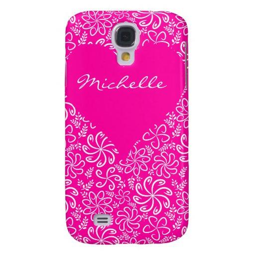 Corazón floral en rosa con un nombre