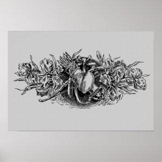 Corazón floral gris antiguo con el arco y la flech póster