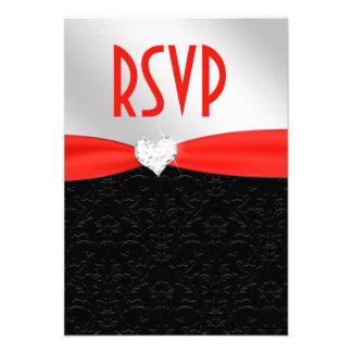 Corazón floral negro rojo RSVP del diamante del da Anuncios