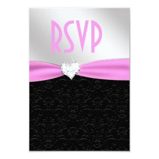 """Corazón floral negro rosa claro RSVP del diamante Invitación 3.5"""" X 5"""""""