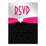 Corazón floral negro RSVP del diamante del damasco Invitacion Personalizada