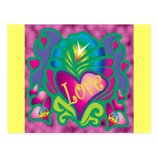 Corazón floral psicodélico postales