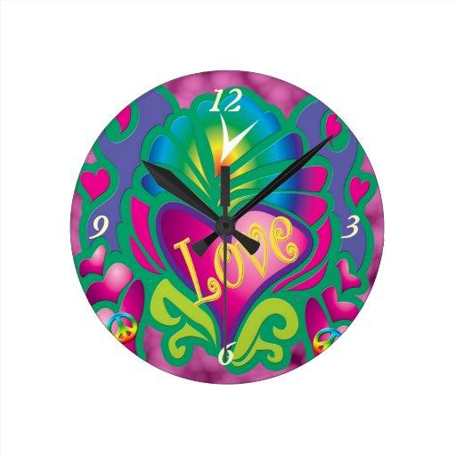Corazón floral psicodélico reloj