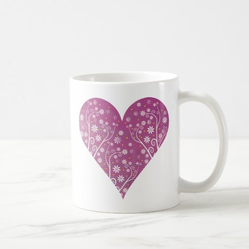 Corazón floral púrpura y su texto - taza