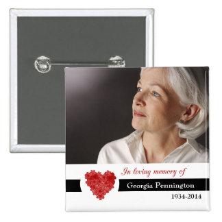 Corazón floral rojo moderno en memoria del botón d pin cuadrado