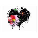 corazon floral tarjetas postales