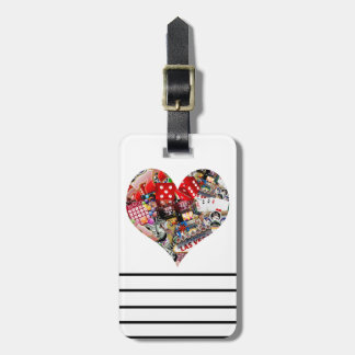 Corazón - forma del naipe de Las Vegas Etiquetas Para Maletas
