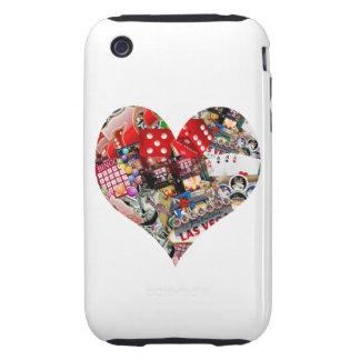 Corazón - forma del naipe de Las Vegas Tough iPhone 3 Coberturas