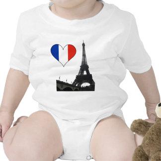 Corazón francés de la bandera trajes de bebé