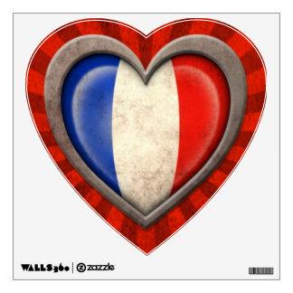 Corazón francés envejecido de la bandera con los r vinilo decorativo