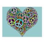 Corazón fresco del amor de la paz tarjetas postales