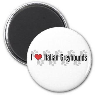 (Corazón) galgos italianos I Imán Redondo 5 Cm