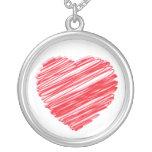 Corazón garabateado collar personalizado