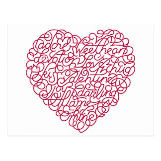 corazón-garabato tarjetas postales