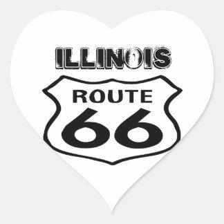 Corazón gastado de Illinois del estado de la ruta Pegatina En Forma De Corazón