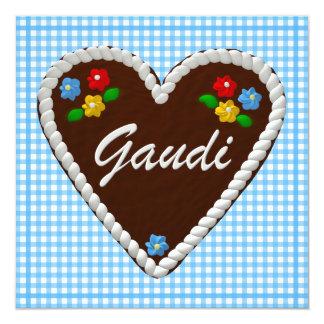 """Corazón """"Gaudi """" de Oktoberfest Invitación 5.25"""" X 5.25"""""""
