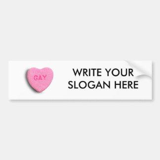Corazón gay del caramelo etiqueta de parachoque