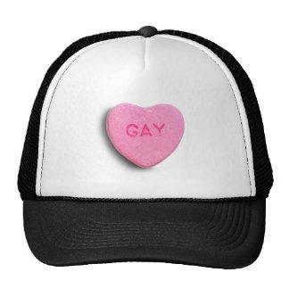 Corazón gay del caramelo gorros bordados