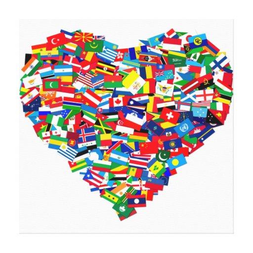 Corazón global impresion de lienzo
