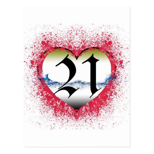 Corazón gótico 21ro postal