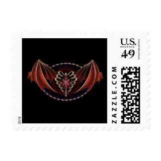 Corazón gótico con diseño del tatuaje de las alas sello