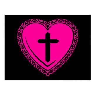Corazón gótico + Cruz (negro + Rosa) Postal