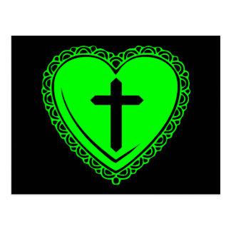 Corazón gótico + Cruz (negro + Verde) Postal
