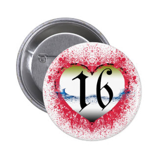 Corazón gótico décimosexto pin redondo 5 cm